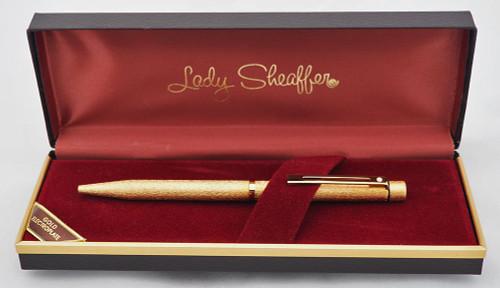 Sheaffer Targa 681 Ballpoint Pen - Gold Electroplated Lamé  (New Old Stock in Box)