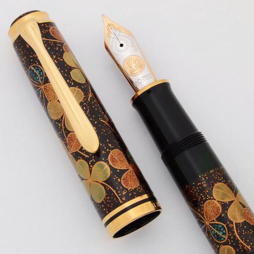 Pelikan M1000 Four Leaf Clover LE Maki-e Fountain Pen - Oversize, Black, 18K Medium Nib (Superior, Works Well)