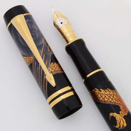 Parker Duofold Centennial Golden Dragon LE Fountain Pen (2011) - Black w Maki-e, Medium 18k Nib (Near Mint, Works Well)