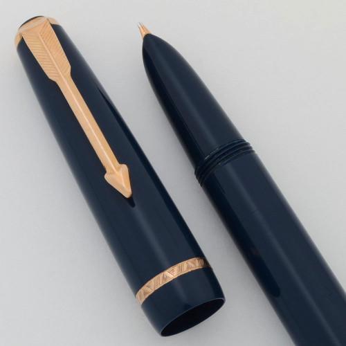 Parker Lady Standard Fountain Pen (England) - Aerometric, Blue w GP Trim, Medium Nib (Excellent, Works Well)