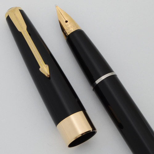 Parker 17 Super Duofold Fountain Pen (UK) - Aerometric, Black, Broad 14k Semi-Flex Nib (Excellent, Works Well)