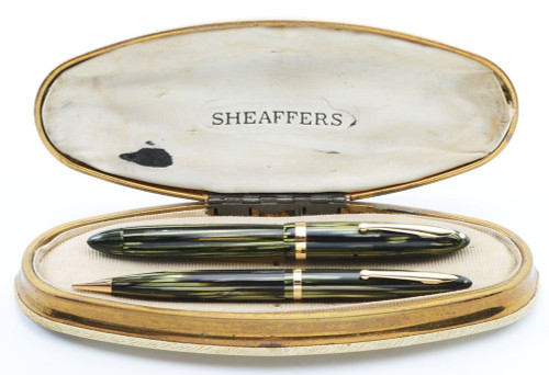 Sheaffer Balance Lifetime Junior Set (1930s) - Marine Green Marble, Vac-Fil,  Fine Lifetime Nib (Very Nice in Box, Restored)