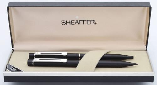 Sheaffer TARGA 1002 Ballpoint Pen and Mechanical Pencil Set (Early Version) - Black Matte, Chrome Trim (New Old Stock)