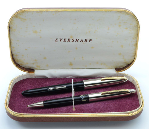 Eversharp Symphony 500 (Loewy First Version, 1948-49) Fountain Pen Set - Black, Manifold Medium 14k Nib (New Old Stock in Box, Restored)