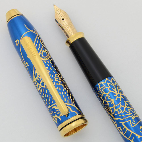Cross Townsend Year of the Rat Fountain Pen (2020) - Metallic Blue w Rat Design, GP Trim (Near Mint, Works Well)