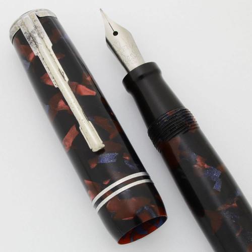 Atena Fountain Pen (1950s) - Burgundy/Blue/Black Marble, Button Filler, Extra-Fine #4 Atena Steel Nib (Very Nice, Works Well)