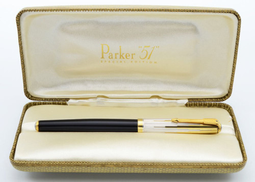Parker 51 Special Edition 2002 - Black w Vermeil Cap, C/C, Medium 18k Nib (Excellent +,  in Box, Restored)
