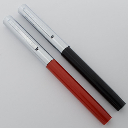 Sheaffer School Pen with Extra Nibs - Steel Cap, Colored Barrel, Flat Ends, Medium + 2 Extra Fine Nibs (New Old Stock)