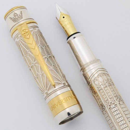 Onoto LE Univ. of Oxford Divinity Fountain Pen 2/100 (2020) - Sterling Silver w Vermeil, C/C, 18k Medium (Near Mint, Works Well)