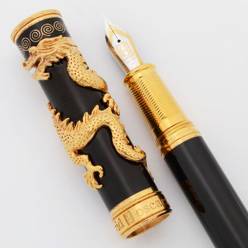 David Oscarson Limited Edition Fountain Pen (2012) - Black Water Dragon, Black, Medium 18k Nib (Near Mint, Pre-Owned)
