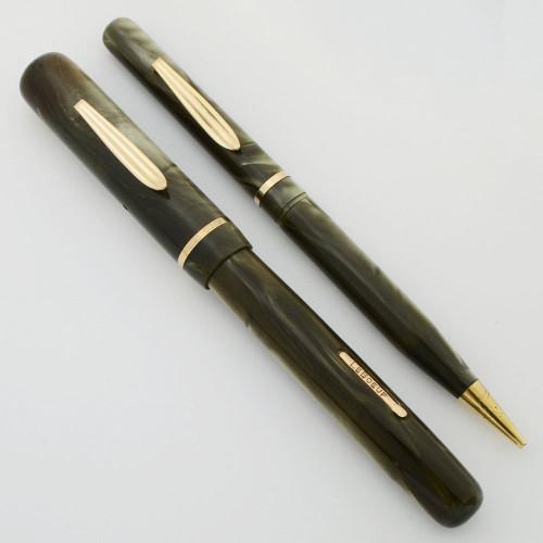 LeBoeuf Lever Fill Fountain Pen/Pencil Set - Green, Flexible Fine #4 Nib (Excellent, Restored)