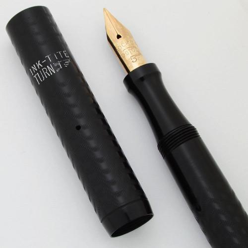 Crocker L-50 Fountain Pen (1910s) - BCHR, Locked Lever Hatchet Filler, Full Flex Medium Nib (Superior, Restored)