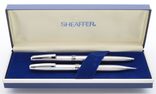 Lady Sheaffer 620 Ballpoint Pen & Pencil Set - 1970s,  Brushed Chrome, Ornate Band (New Old Stock, in Original Box))