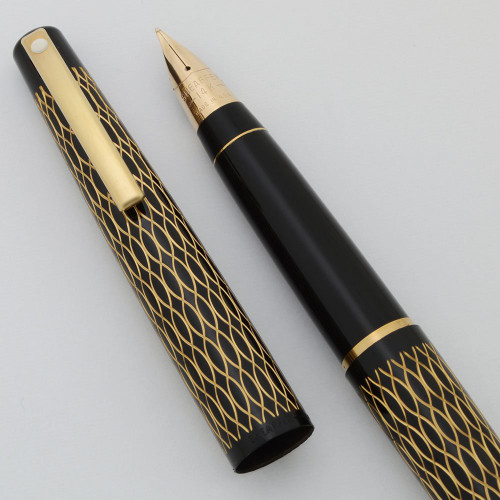 Lady Sheaffer 632 Fountain Pen (1975) - Black Tulle, Black Section, 14k Triumph Nibs (New Old Stock in Box)