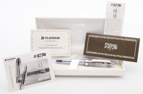 "Platinum 3776 Century ""Shoji"" Fountain Pen (2012) - Clear w Rhodium Trim, C/C,  14k Medium Nib (Mint in Box, Works Well)"