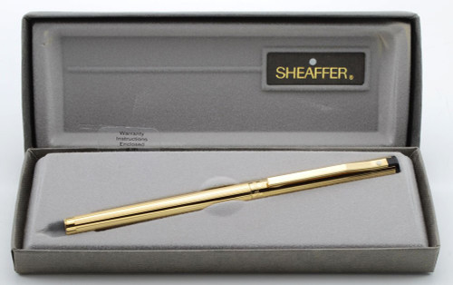 Sheafer TRZ Model 65 Fountain Pen (1980s) - Lined Gold Electroplated,  C/C, Medium Gold Plated Nib (New Old Stock in Box)