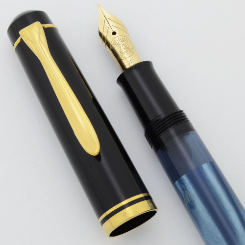 Pelikan M200 Fountain Pen (Old Style) - Blue Marble, Upgraded 14c Fine Nib (Excellent +, Works Well)