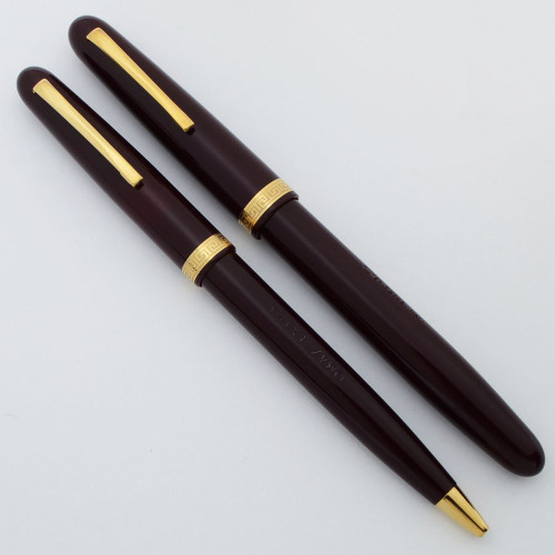 Omas Extra Fountain and Ballpoint Pen Set - Burgundy w Gold Trim, Piston Filler, GP Fine Nib (Excellent +, Works Well)