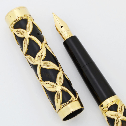 Aiken Lambert (ALCO) Eyedropper Fountain Pen - Gold Filled Filigree, Flexible Fine #3 Nib (Excellent, Restored)