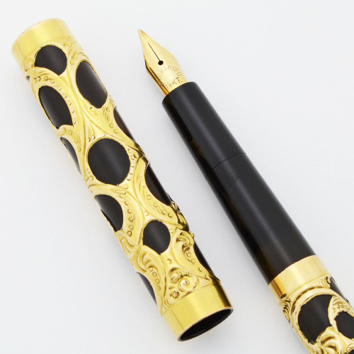 Eyedropper Filigree Fountain Pen (Possibly Waterman 72) - Flexible Medium Warranted 14k Nib (Superior, Works Well)