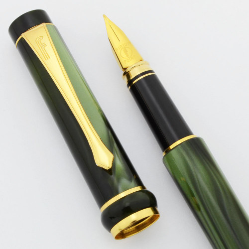 Filcao Fountain Pen (2000s) - Green Swirl Celluloid, Medium Iridium Point Nib ((Excellent, Works Well)