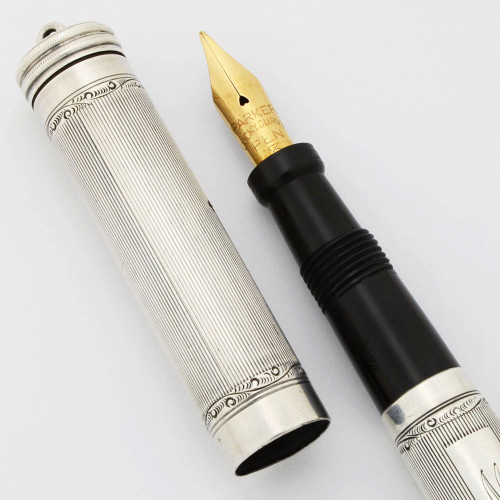 Parker Lucky Curve #90 Fountain Pen (1917-25) - Sterling Lined Overlay, Ring Top, Button Filler,  Flex Fine Nib (Excellent, Restored)