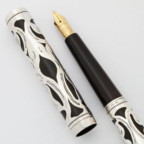 Waterman 12 Fountain Pen (1920s) - Sterling Floral Filigree, Eyedropper,  Medium Italic Ideal Nib (Very Nice, Works Well)