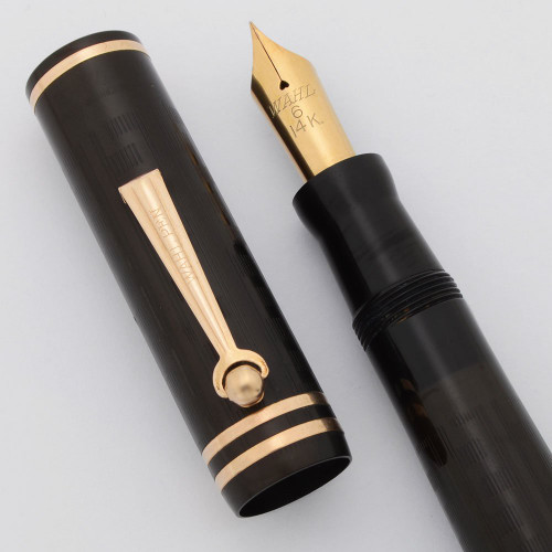 Wahl #6 Oversize Fountain Pen - Roller Clip, Black Chased Hard Rubber, Fine 14k Nib  (Superior, Restored)