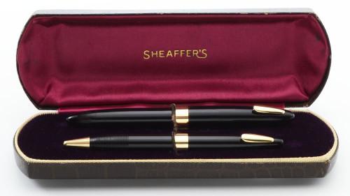 Sheaffer Tuckaway Statesman 875 Fountain Pen and  Pencil Set - Black w GF Trim, Vac Fil, Fine 14k Nib (Excellent +, Restored)