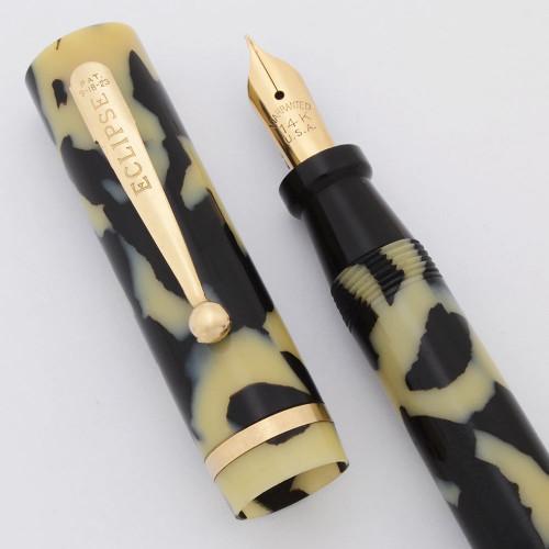 Eclipse Oversize Fountain Pen (1930s) - Black Pearl, Lever Filler,  14k Warranted Nib (Superior, Restored)
