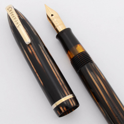 "Sheaffer Balance 400 ""Commandant"" - Brown Striated, Military Clip, Lever, Extra Fine #3 Nib (Excellent, Restored)"