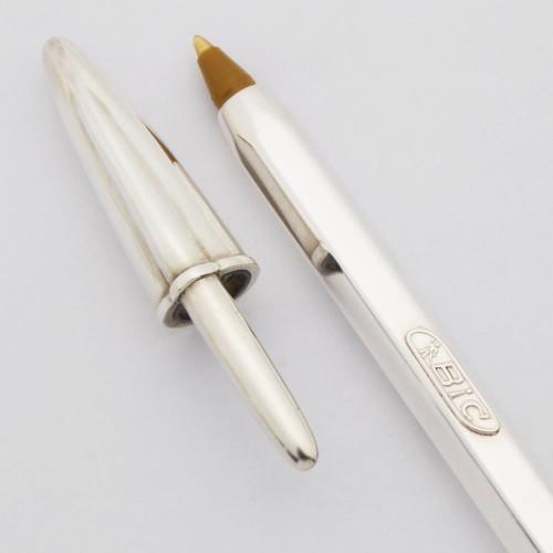 BIC Cristal Ballpoint Pen - Sterling Silver (Near Mint In Box, Works Well)