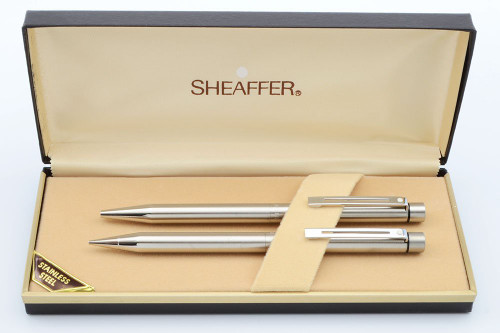 Sheaffer Targa 1001 (First Version) Ballpoint & Pencil Set (1980s)  - Stainless Steel, .9mm Leads  (New Old Stock in Box)