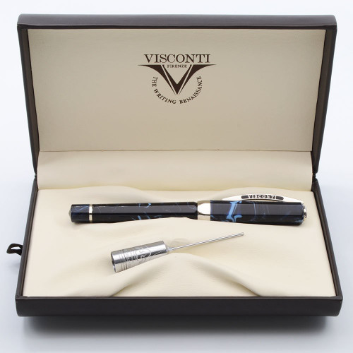 Visconti Opera Typhoon Fountain Pen Limited Edition -  Blue Swirl Resin, Piston Fill, Fine Chromium Tubular Nib  (Mint in Box)