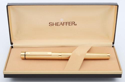 Sheaffer Targa 1005 Fountain Pen (1970s-90s) - Gold Fluted, C/C,  Medium 14k Nib (New Old Stock In Box)