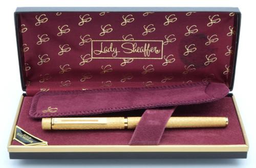 Sheaffer Targa 681S Slim Fountain Pen (1980s) - Gold Electroplated Lamé, C/C, Medium 14k Nib  (New Old Stock in Box)