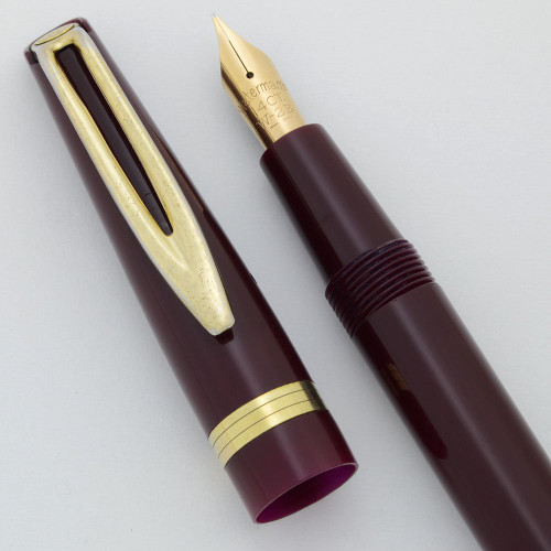Waterman NW2 Fountain Pen - England, Burgundy, Cartridge Fill, Fine 14k Nib (Very Nice, Restored)