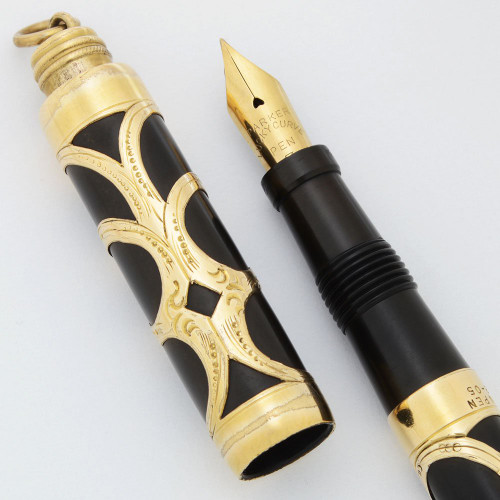 Parker  Lucky Curve #16 Baby Turban Top  - Gold Filigree,  Eyedropper, Fine Flexible #3 Nib (Excellent, Restored)