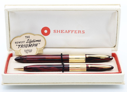 Sheaffer Lifetime Triumph Set - Carmine Striated w Wide Cap Band, Vac-Fil, Extra-Fine 14k Nib (Excellent in Box , Restored)