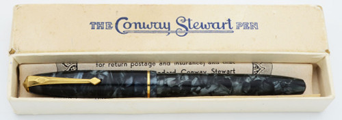 Conway Stewart 85 Fountain Pen (1950s) - Marbled Blue, Italic 14k Nib (Very Nice in Box, Restored)