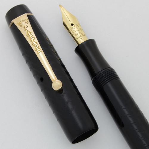 Parker Lucky Curve (1930s) Fountain Pen (Canada) - Clip, Slim, BCHR, Button Filler, 14k Fine Flexible #2 Nib (Superior, Restored)