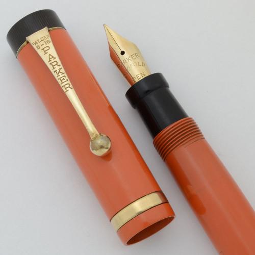 Parker Duofold Junior Fountain Pen  (1922) - Orange Hard Rubber, Giant Imprint.  Button Filler, Medium-Fine (Excellent +, Restored)