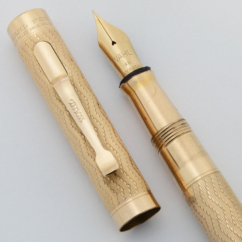 Wahl Fountain Pen w Clip (1920s)  -  Gold Filled Wavy Design, Lever Filler, Wahl 14k Flexible Nib (Excellent, Restored)
