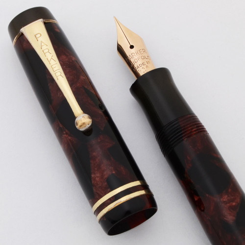 Parker Duofold Junior Fountain Pen (1930s) - Burgundy Marble, Streamlined, Button Filler, Fine Nib (Very Nice, Restored)