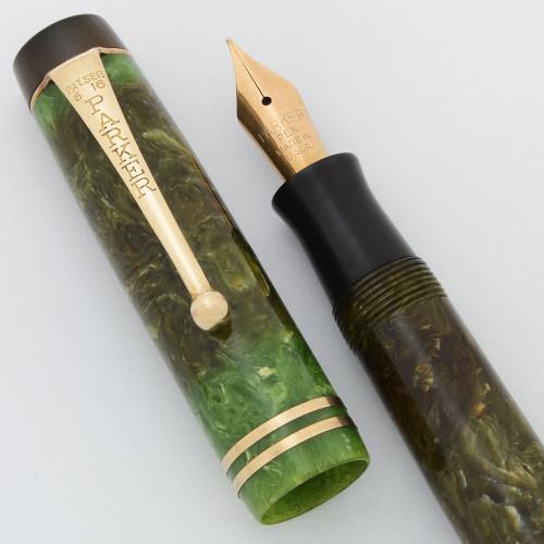 Parker Duofold Junior Streamline Fountain Pen (1930s) - Green, Medium (Very Nice, Restored)