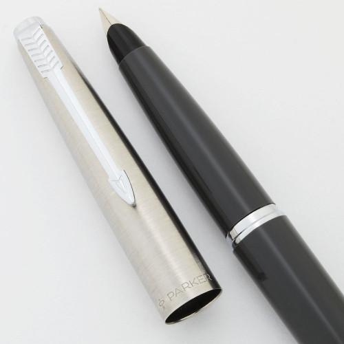 Parker 45  Fountain Pen (1967-70) - Grey, Steel Cap, Extra Fine Steel Nib (Excellent +, Works Well)