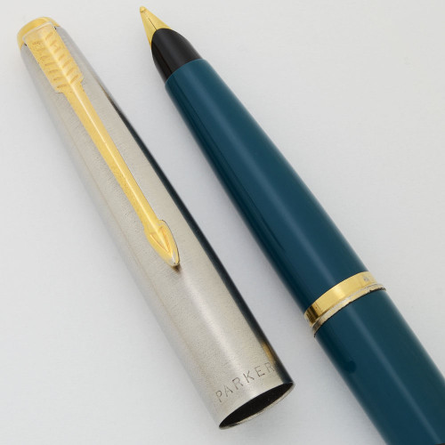 Parker 45 Fountain Pen (USA, pre-2001) - Teal, Steel  Cap  GT, Medium Gold Plated Nib (Excellent, Works Well)