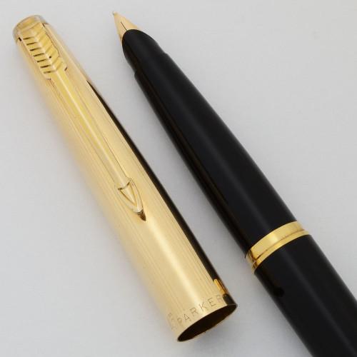 Parker 45 Custom Fountain Pen (1966-69) - Black, GF Cap, Medium 14k Nib (Excellent, Works Well)
