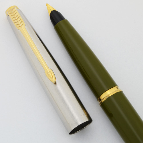 Parker 45 Classic Fountain Pen (1967-70) - Olive Green, Flighter Cap, GT, Broad GP Nib (Excellent , Works Well)