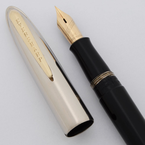 Eversharp Symphony 500 Fountain Pen - Black, First Version (Loewy) , Extra-Fine Manifold 14k Nib (Excellent, Restored)